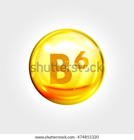 Vitamin B6 gold icon. Pyridoxine vitamin drop pill capsule. Shining golden essence droplet. Beauty treatment nutrition skin care design. Vector illustration.