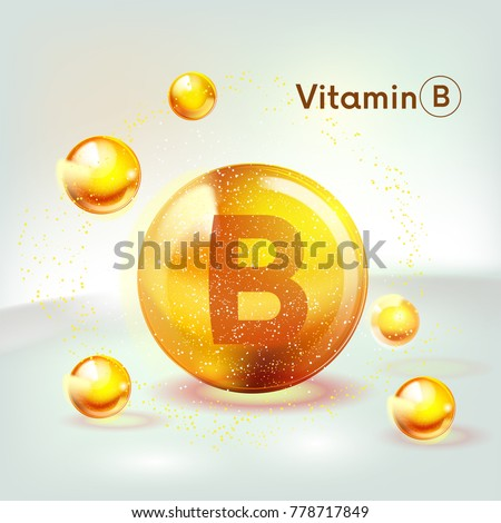 Vitamin B gold shining icon. Ascorbic acid. Shining golden substance drop. Nutrition skin care. Vector illustration.