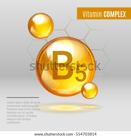 Vitamin B5 gold shining pill capcule icon . Vitamin complex with Chemical formula, group B,  Pantothenic acid. Shining golden substance drop. Meds for heath ads. Vector illustration