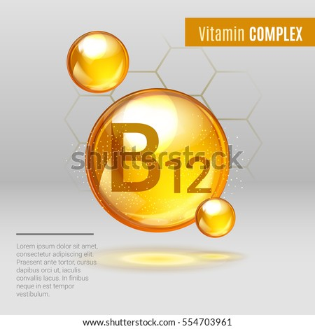 Vitamin B12 gold shining pill capcule icon . Vitamin complex with Chemical formula, group B, Cyanocobalamin, hydroxocobalamin. Shining golden substance drop. Meds for heath ads. Vector illustration