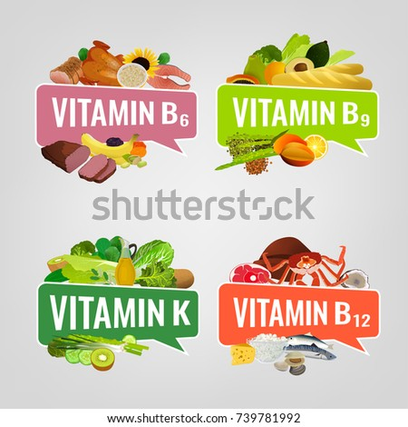 Vitamin banner. Vector illustrations with caption lettering and top foods highest in different vitamins. Useful for leaflet, brochure or poster design as a header or other graphic element.