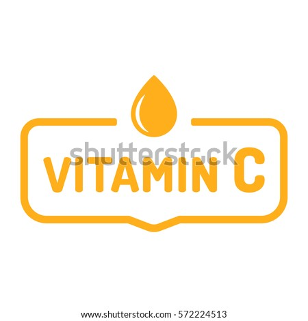 Vitamin C. Badge, icon, logo vector design illustration on white background. Can be used for eco, organic, bio theme.
