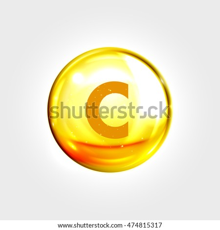 Vitamin C gold icon. Ascorbic acid vitamin drop pill capsule. Shining golden essence droplet. Beauty treatment nutrition skin care design. Vector illustration.