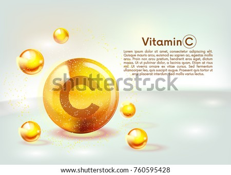 Vitamin C gold shining icon. Ascorbic acid. Shining golden substance drop. Nutrition skin care. Vector illustration.