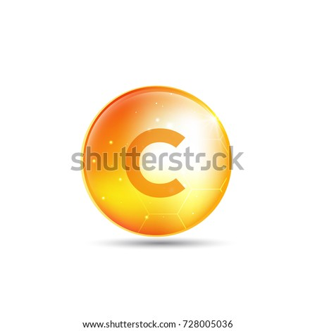 Vitamin C gold shining pill  with Chemical formula, Ascorbic acid. vector design.