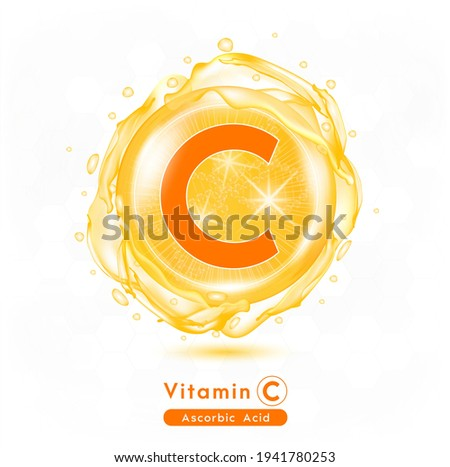Vitamin C, Orange shining pill capsule. Vitamin complex with Chemical formula.  Meds for health ads. Beauty treatment nutrition skin care design. Vector illustration.