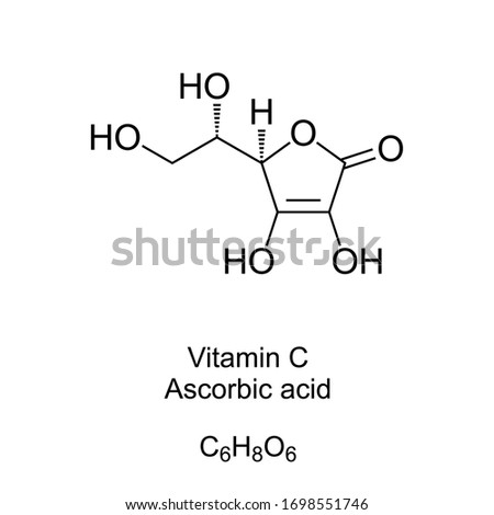 Vitamin C skeletal formula and molecular structure. Ascorbic acid, also known as ascorbate, a vitamin found in various foods and sold as a dietary supplement. Structural formula. Illustration. Vector. Zdjęcia stock ©