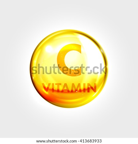 Vitamin C vector. Vitamin gold oil icon. Vitamin drop pill capsule. Shining golden essence droplet. Beauty treatment nutrition skin care design. Vector illustration.