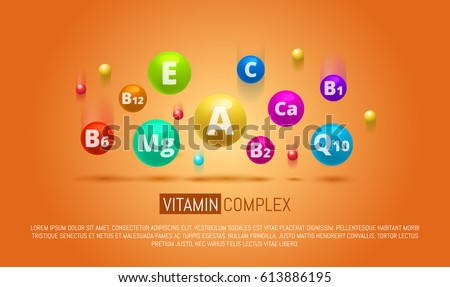 Vitamin Complex Colorful Vector pills capcule. Different vitamins icon in bright rainbow colours. Ca, group B, vitamin A, E, Q10, Mg.  Meds for heath ads. Medical image.Vector illustration.