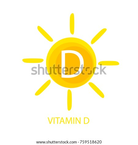 Vitamin D Icon with Sun Vector Illustration EPS10
