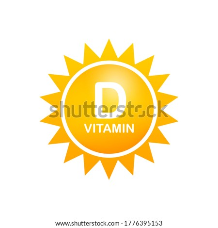 Vitamin D Icon with Sun. Vector stock illustration.
