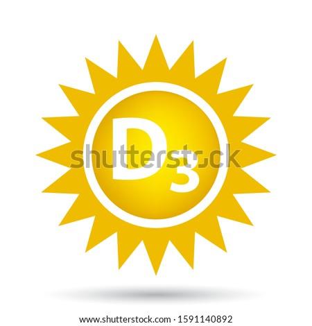 vitamin d3 icon with sunshine