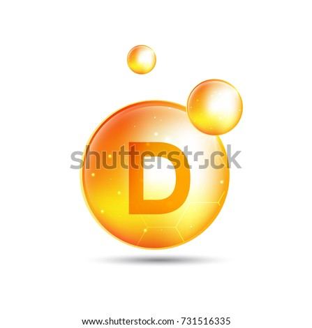 vitamin d, yellow capsule. yellow bubble, realistic vector illustration design.