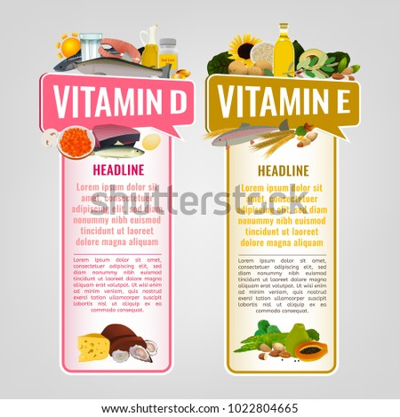 Vitamin E and Vitamin D banners with place for text. Vertical vector illustrations with caption lettering and top foods highest in vitamins isolated on a light grey background. Useful design element.