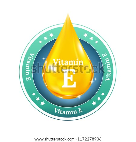 Vitamin E Drop label. Realistic Vector for beauty concept. Button, sign, icon or badge.