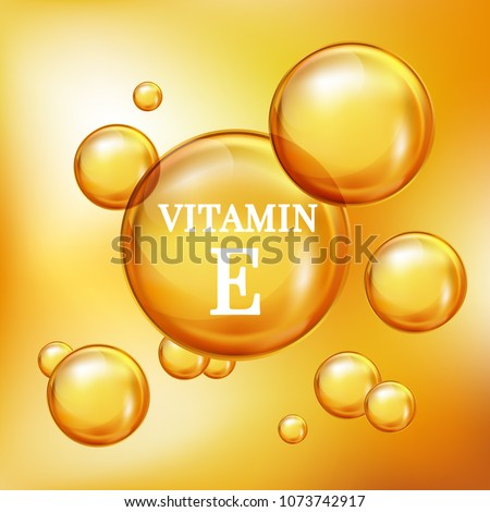 Vitamin E for personal care and beauty concept. Realistic 3d gold bubbles vector.