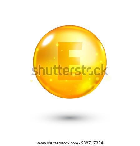 Vitamin E glitter gold icon. 3d illustration of Vitamin drop pill capsule. Shining golden essence droplet. Beauty treatment nutrition skin care design. Vector illustration.