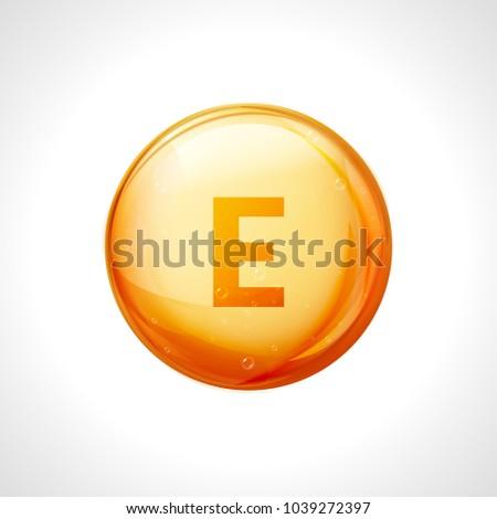 Vitamin E gold drop icon. Vitamin drop pill capsule health treatment. Vitamin E natural essence for skin.