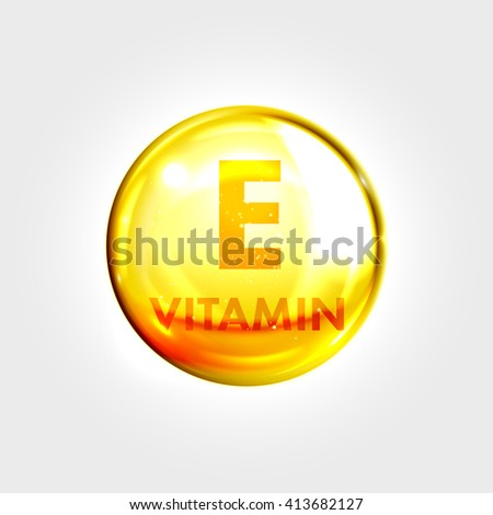 Vitamin E gold icon. Vitamin drop pill capsule. Shining golden essence droplet. Beauty treatment nutrition skin care design. Vector illustration.
