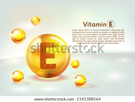 Vitamin E gold shining icon. Ascorbic acid. Shining golden substance drop. Nutrition skin care. Vector illustration.