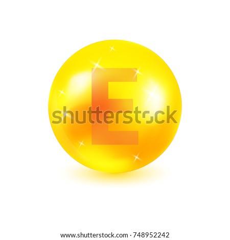 Vitamin E premium icon. Cosmetic skin care complex concept. Bright shiny capsule. Gold oil capsule. Vector illustration for your design.