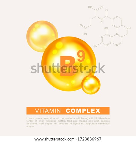 Vitamin gold shining pill capsule icon. Nutrition sign vector concept. The power of vitamin B9. Chemical formula. Vitamin B9 gold icon. Folic acid vitamin drop pill capsule. Shining golden essence