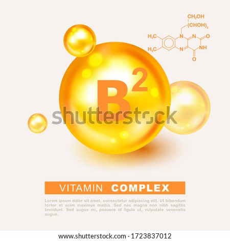 Vitamin gold shining pill capsule icon. Nutrition sign vector concept. The power of vitamin B2. Chemical formula. Vitamin B2 gold essence. Riboflavin drop pill vitamin treatment. Golden vector natural