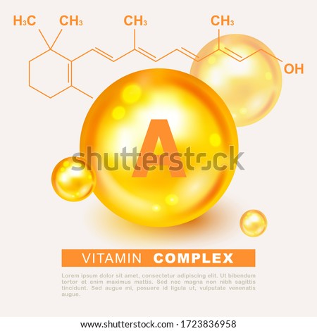 Vitamin gold shining pill capsule icon. Vitamin A. Retinol Retinol, retinal, beta carotene. Shining golden substance drop. Meds for heath ads