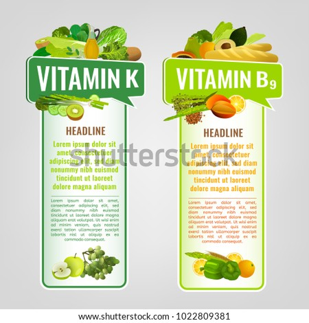 Vitamin K and Vitamin B9 banners with place for text. Vertical vector illustrations with caption lettering and top foods highest in vitamins isolated on a light grey background. Useful design element.