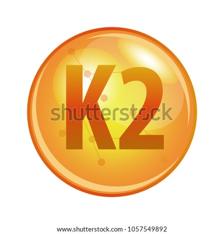 Vitamin K2 capsule. Vector icon for health. Gold shining pill.