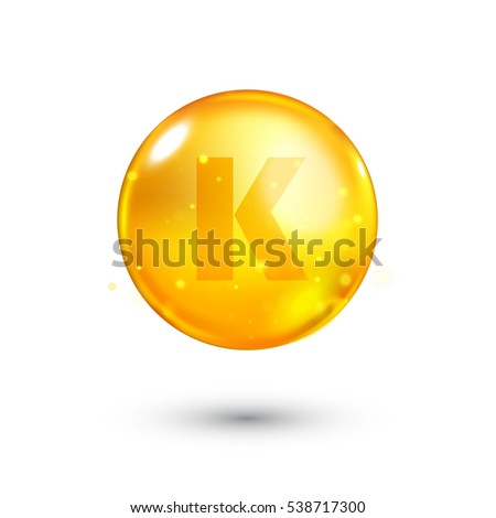 Vitamin K glitter gold icon. Antihemorrhagics vitamin drop pill capsule. Shining golden essence droplet. Beauty treatment nutrition skin care design. Natural supplement 3d symbol. Vector illustration.