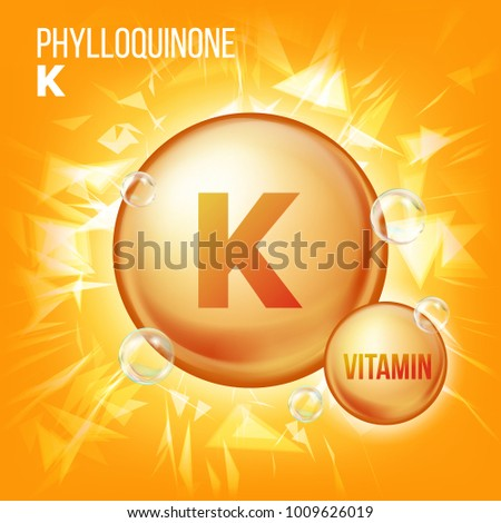 Vitamin K Phylloquinone Vector. Vitamin Gold Oil Pill Icon. Organic Vitamin Gold Pill Icon. For Beauty, Cosmetic, Heath Promo Ads Design. 3D Vitamin Complex With Chemical Formula. Illustration