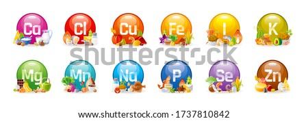 Vitamin Mineral nutrition set. Vector healthy food supplement icons. Health diet infographic chart. Iron, Calcium, Magnesium, Zinc, Potassium, Iodine, Phosphorus, Copper, Sodium, Manganese, Selenium Stock photo ©