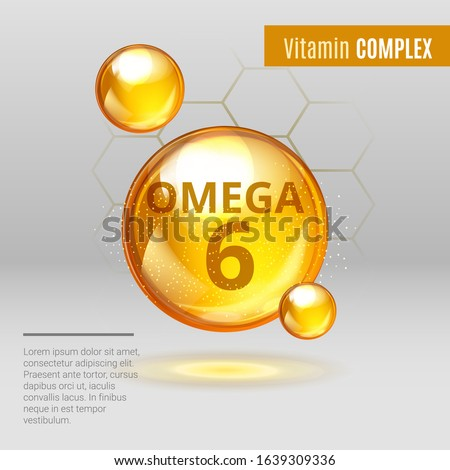 Vitamin Omega-6 Fatty Acids gold shining pill capsule icon . Vitamin complex with Chemical formula Dietary supplement .Shining golden substance drop or essence droplet. Meds for health ads. Vector