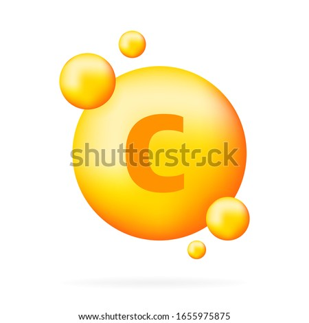 Vitamin shining pill capcule icon. Shining golden substance drop. Meds ads. Beauty treatment nutrition skin care design. Vector illustration.