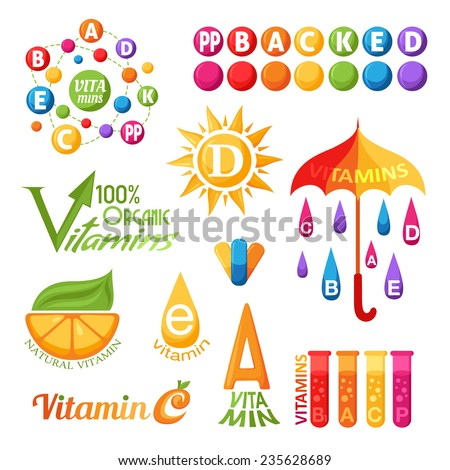Vitamins symbols, emblems and icons for design