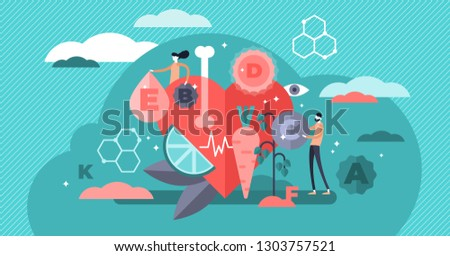 Vitamins vector illustration. Flat tiny healthy lifestyle persons concept. Fresh organic food as vegetarian nutrition set for whole essential chemical elements. Eat raw for heart and bones strength.