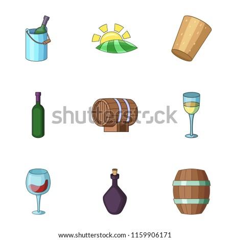 viticulture icons set cartoon