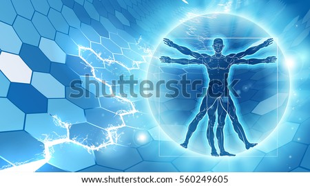 vitruvian man hexagon blue