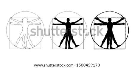 Vitruvian man sign human body Line pattern Divine Fibonacci day Leonardo da Vinci man davinci symbol Gometric shapes Circles funny fun Piero Vector icon icons sig signs fun funny drawing draw cartoon
