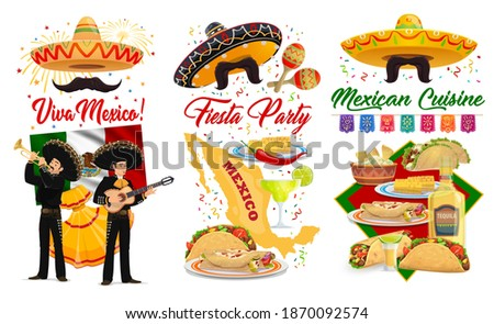 Viva Mexico and Cinco de Mayo vector banners with Mexican holiday fiesta party sombreros, maracas and guitars. Mariachi, flag of Mexico and tequila, tacos, burritos and guacamole, greeting card design