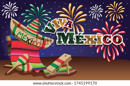 Viva Mexico and Mexican night with color fireworks, mexican sarape, mexican hat, maracas and matraca. Vector illustration Stock fotó ©