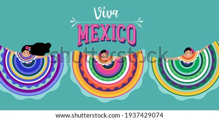 Viva Mexico, independence day, Cinco de Mayo, federal holiday in Mexico. Fiesta banner and poster design with flags, flowers, decorations