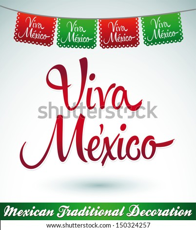 Viva Mexico mexican holiday vector decoration