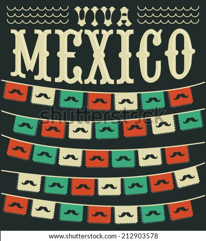 Viva Mexico mexican mustache holiday vector decoration
