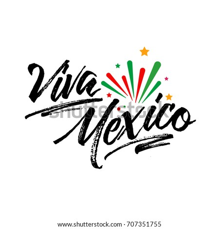 Shutterstock Viva Mexico, traditional mexican phrase holiday, lettering vector illustration with colorful star