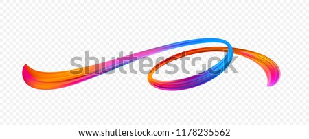 Vivid acrylic brushstroke. Abstract oil paint stream. Twisted ribbon paint smear. Christmas and New Year texture. Rainbow brush stroke. Banner, cover and postcard design element. Isolated vector