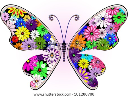 Vivid fantasy floral abstract butterfly for design on white-pink (vector)