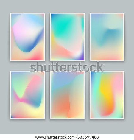 Vivid Gradient Backgrounds. Set of vector colorful posters.