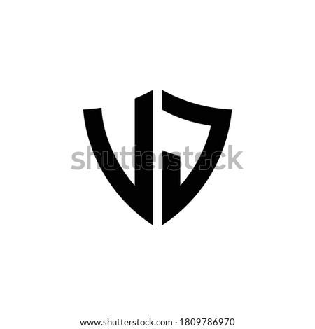 VJ monogram logo with shield shape design template isolated on white background Stock fotó ©